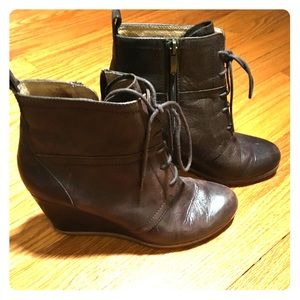 Shoes - Biala wedged, lace-up bootie. Size 8.5.